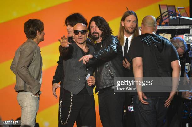 Musicians Keith Urban Kenny Aronoff Dave Grohl and James Valentine onstage during The Night That Changed America A GRAMMY Salute To The Beatles at...