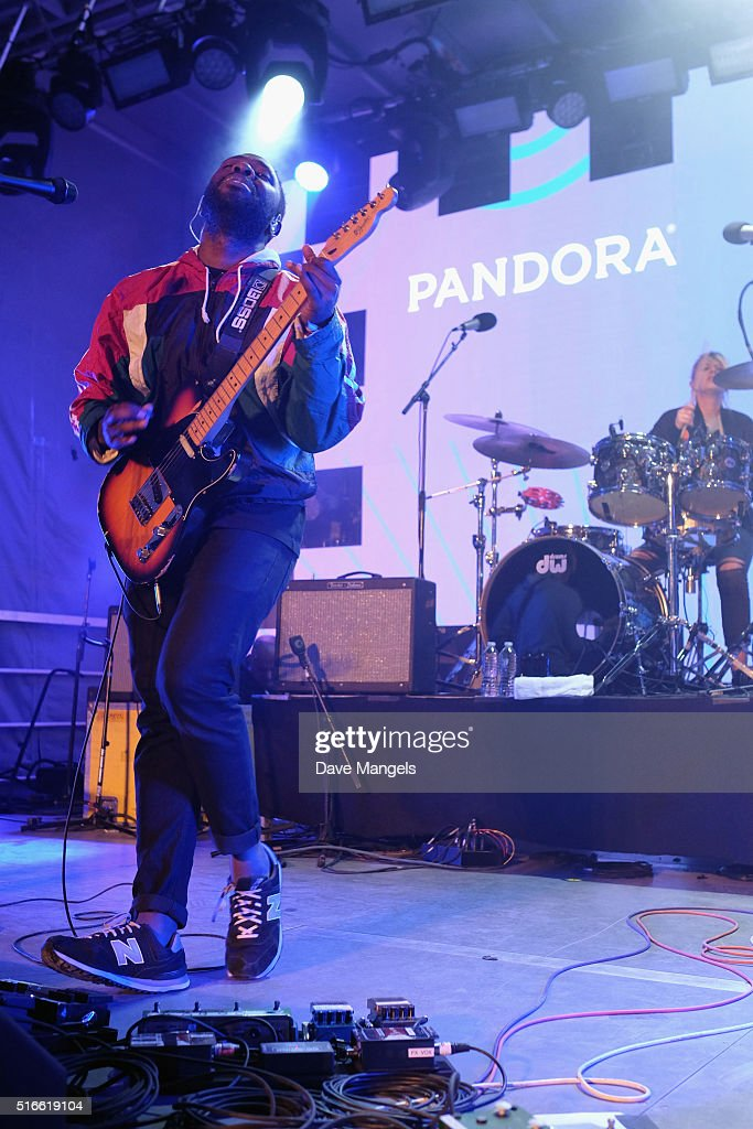 Musicians Kele Okereke and Louise Bartle of the band Bloc Party perform onstage at Pandora Discovery Den during the 2016 SXSW Music, Film + Interactive Festival at The Gatsby on March 19, 2016 in Austin, Texas.