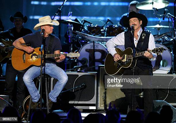 Musicians Kenny Chesney and Kix Brooks of the band Brooks Dunn perform onstage during Brooks Dunn's The Last Rodeo Show at the MGM Grand Garden Arena...