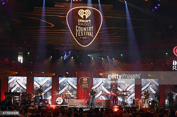 Musicians Kenny Lewis Gary Hooker Ben Sesar Brad Paisley Kendal Marcy Justin Williamson and Randle Currie perform onstage during the 2015 iHeartRadio...