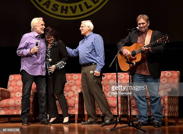 Musicians Kenny Rogers Mary Arnold Miller Mike Settle and Terry Williams speak during a panel discussion with Kenny Rogers and the First Edition at...
