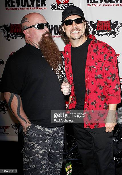 Musicians Kerry King Dave Lombardo arrive at the 2nd annual Revolver Golden Gods Awards at Club Nokia on April 8 2010 in Los Angeles California