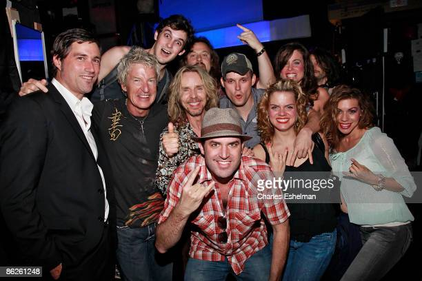 Musicians Kevin Cronin and Tommy Shaw during the Rock of Ages curtain call at the Brooks Atkinson Theatre on April 27 2009 in New York City