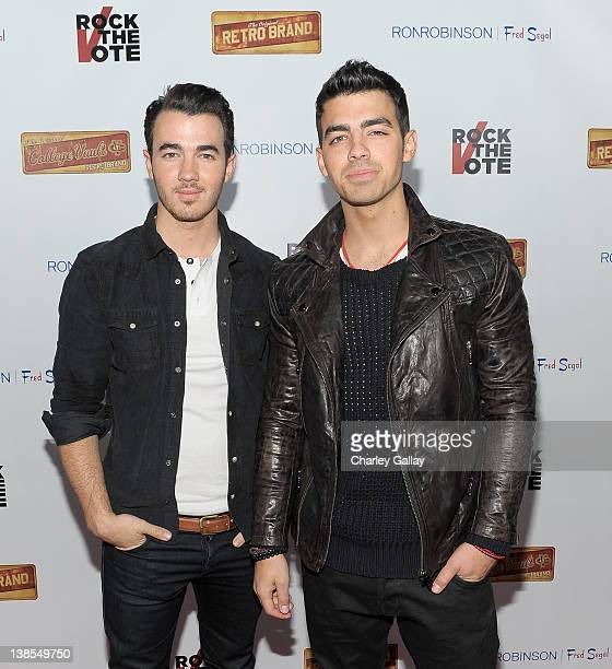 Musicians Kevin Jonas and Joe Jonas attend the Rock The Vote KickOff Of 2012 Election And Launch Of Exclusive Rock The Vote Apparel Line at Fred...