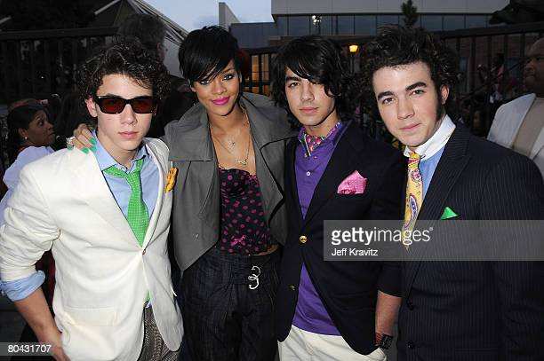 Musicians Kevin Jonas Nicholas Jonas Joseph Jonas and Rihanna attend Nickelodeon's 2008 Kids' Choice Awards after party held at the Pauley Pavilion...