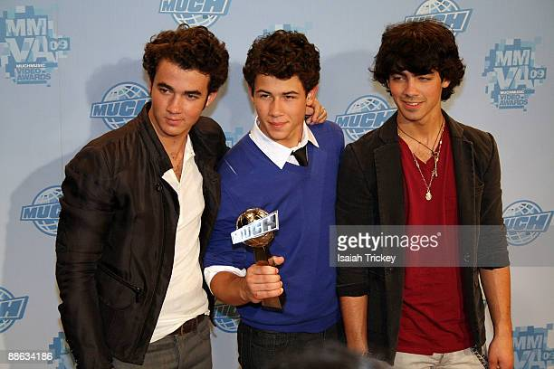 Musicians Kevin Jonas Nick Jonas and Joe Jonas of Jonas Brothers attend the MuchMusic Video Awards on June 21 2009 in Toronto Canada