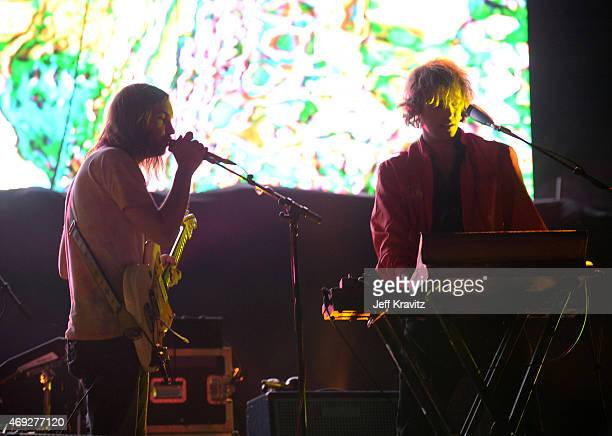 Musicians Kevin Parker and Jay Watson of Tame Impala perform onstage during day 1 of the 2015 Coachella Valley Music Arts Festival at the Empire Polo...