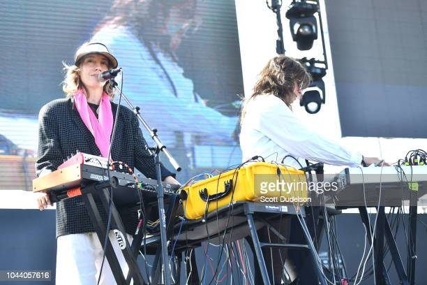 Musicians Khaela Maricich and Melissa Dyne of The Blow peform onstage during day 2 of Music Tastes Good Festival at Marina Green Park on September 30...