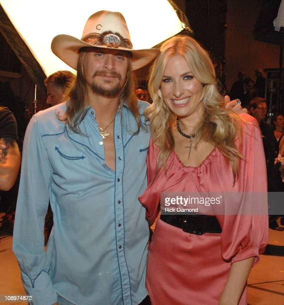 Musicians Kid Rock and Holly Williams backstage during CMT Giants honoring Hank Williams Jr. At the Gibson Amphitheatre on October 25, 2007 in Los...