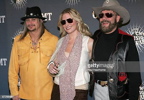 Musicians Kid Rock Hank Williams Jr and his daughter Holly Williams arrive at the 2006 CMT Music Awards at the Curb Event Center at Belmont...