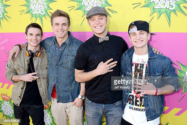 Musicians Kieran Ackerman Aaron Scott Ben Robinson and Adam Ackerman of Four Count arrive at Nickelodeon's 26th Annual Kids' Choice Awards at USC...
