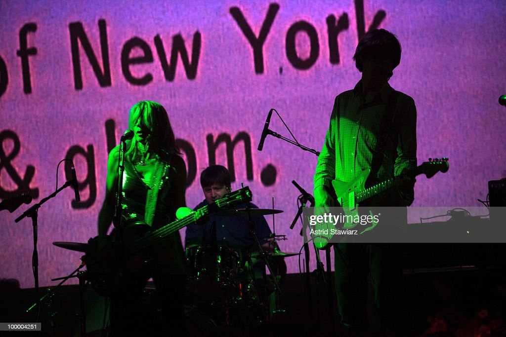 Musicians Kim Gordon and Thurston Moore of the band Sonic Youth perform during Anthology Film Archives 40th Anniversary 'Return to the Pleasure Dome' celebration at the Hiro Ballroom at The Maritime Hotel on May 19, 2010 in New York City.