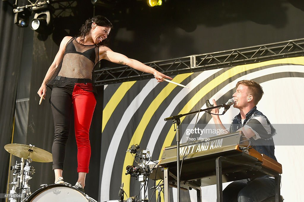 Musicians Kim Schifino (L) and Matt Johnson of Matt and Kim perform onstage during day 3 of the Firefly Music Festival on June 20, 2015 in Dover, Delaware.