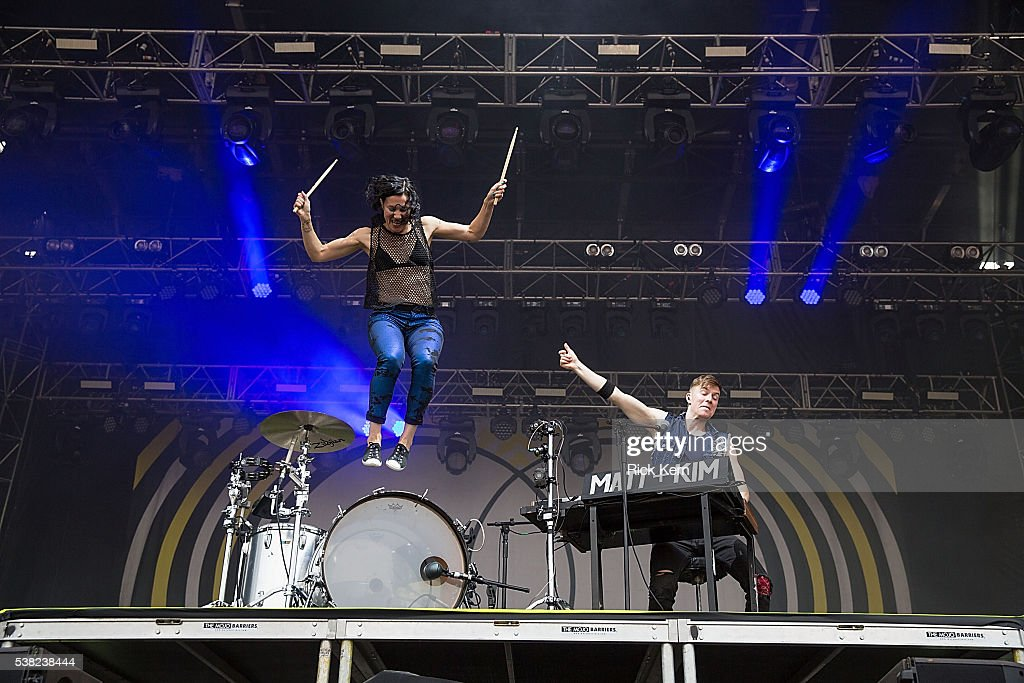 Musicians Kim Schifino (L) and Matt Johnson of Matt and Kim perform onstage during day one of Free Press Summer Festival on June 2, 2016 in Houston, Texas.