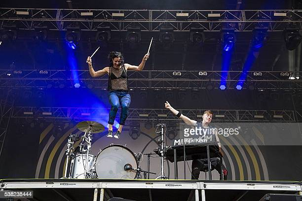 Musicians Kim Schifino and Matt Johnson of Matt and Kim perform onstage during day one of Free Press Summer Festival on June 2 2016 in Houston Texas