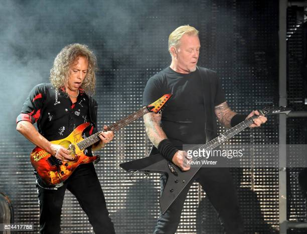 Musicians Kirk Hammett and James Hetfield of Metallica perform onstage at the Rose Bowl on July 29 2017 in Pasadena California