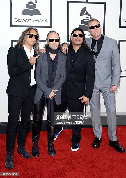 Musicians Kirk Hammett Lars Ulrich Robert Trujillo and James Hetfield of Metallica attend the 56th GRAMMY Awards at Staples Center on January 26 2014...