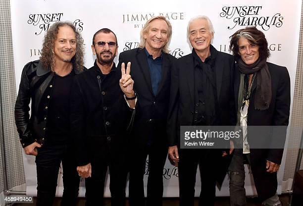 Musicians Kirk Hammett, Ringo Starr, Joe Walsh, Jimmy Page and Joe Perry pose at a private reception and dinner for Jimmy Page to celebrate his new...