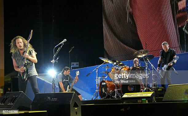 Musicians Kirk Hammett, Robert Trujillo, Lars Ulrich and James Hetfield of Metallica perform at Ozzfest 2008 at the Pizza Hut Park on August 9, 2008...