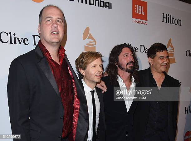 Musicians Krist Novoselic Beck Dave Grohl and Pat Smear attend the 2016 PreGRAMMY Gala and Salute to Industry Icons honoring Irving Azoff at The...