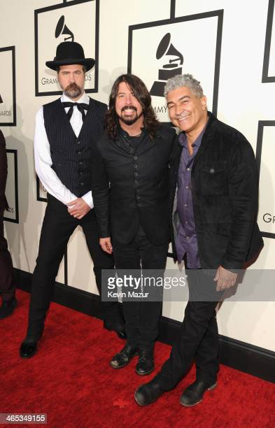 Musicians Krist Novoselic Dave Grohl and Pat Smear attend the 56th GRAMMY Awards at Staples Center on January 26 2014 in Los Angeles California