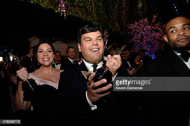 Musicians Kristen AndersonLopez and Robert Lopez attend the Oscars Governors Ball at Hollywood Highland Center on March 2 2014 in Hollywood California