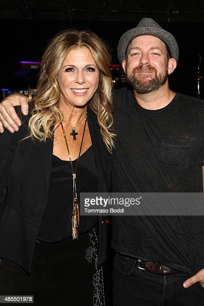 Musicians Kristian Bush and Rita Wilson perform at The Troubadour on August 27 2015 in Los Angeles California