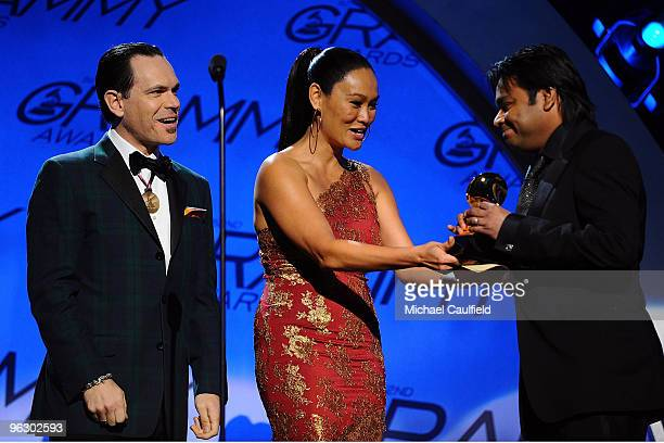 Musicians Kurt Elling and Tia Carrere presnt an award to AR Rahman at the 52nd Annual GRAMMY Awards pretelecast held at Staples Center on January 31...