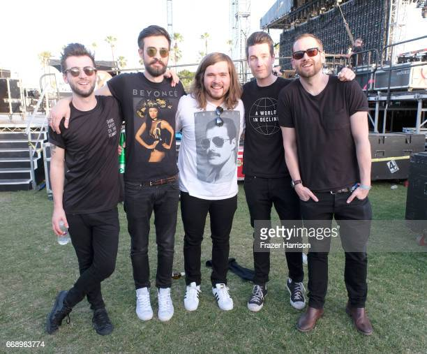 Musicians Kyle J Simmons Charlie Barnes Chris Woody Wood Dan Smith and Will Farquarson of Bastille pose backstage at the Outdoor Stage during day 2...
