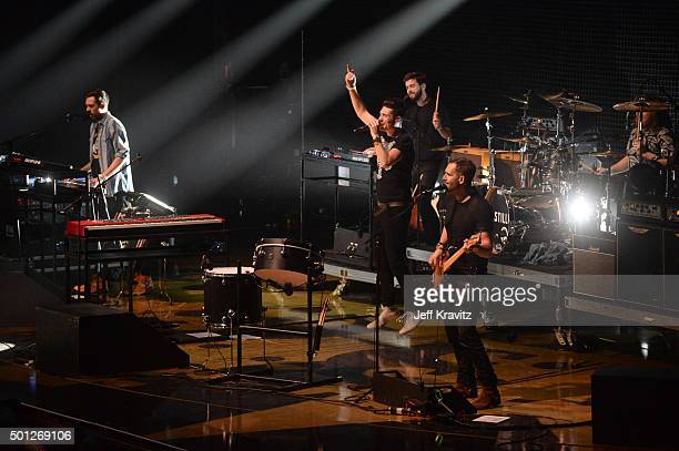 Musicians Kyle J Simmons Dan Smith Chris 'Woody' Wood and Will Farquarson of Bastille perform onstage during 1067 KROQ Almost Acoustic Christmas 2015...