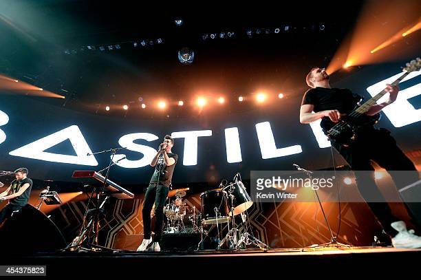 Musicians Kyle Jonathan Simmons Dan Smith Chris Wood and William Farquarson of Bastille perform onstage during The 24th Annual KROQ Almost Acoustic...