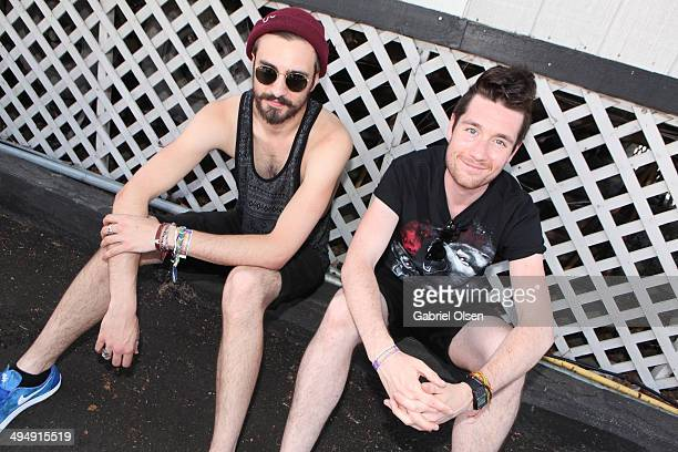 Musicians Kyle Simmons and Dan Smith of Bastille pose backstage during the 22nd Annual KROQ Weenie Roast at Verizon Wireless Music Center on May 31...