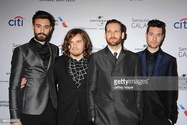 Musicians Kyle Simmons Chris Wood Will Farquarson and Dan Smith of Bastille attend the Universal Music Group 2015 Post GRAMMY Party at The Theatre...