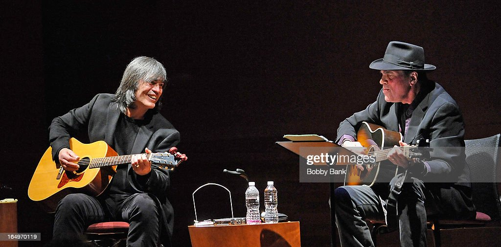 Musicians Larry Campbell and Eric Andersen performs at the Rubin Museum of Art on March 29, 2013 in New York City.