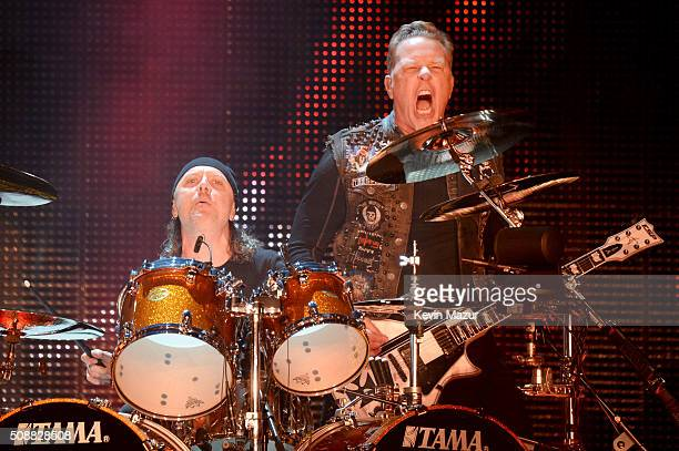 Musicians Lars Ulrich and James Hetfield of Metallica perform onstage at CBS RADIO's third annual 'The Night Before' at ATT Park Presented by...