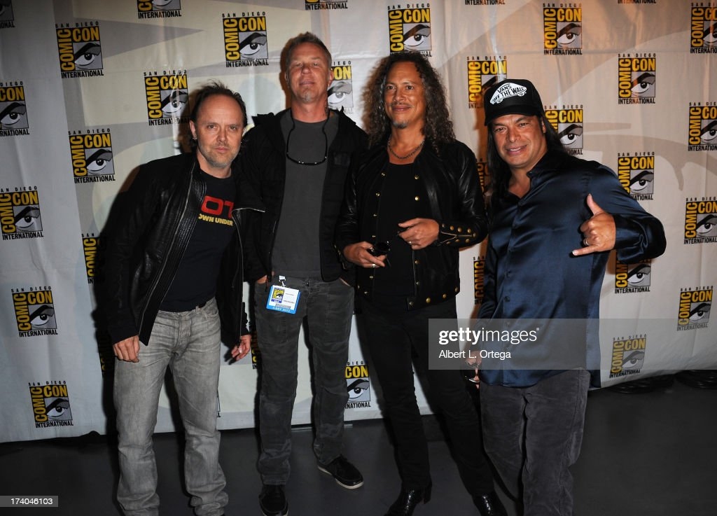 Musicians Lars Ulrich, James Hetfield, Kirk Hammett and Robert Trujillo appear at 'At The Drive-In With Metallica' during Comic-Con International 2013 at San Diego Convention Center on July 19, 2013 in San Diego, California.