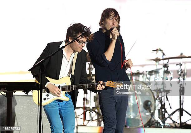 Musicians Laurent Brancowitz and Thomas Mars of Phoenix perform onstage during day 2 of the 2013 Coachella Valley Music Arts Festival at the Empire...
