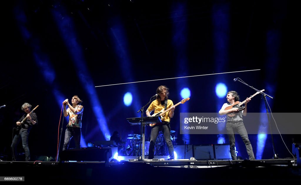 Musicians Laurent Brancowitz, Thomas Mars, Christian Mazzalai and Deck d'Arcy and of the band Phoenix perform at the Hangout Stage during 2017 Hangout Music Festival on May 19, 2017 in Gulf Shores, Alabama.