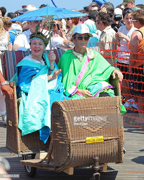 Musicians Laurie Anderson and Lou Reed attend the 2010 Mermaid Parade in Coney Island on June 19 2010 in the Brooklyn Borough of New York City