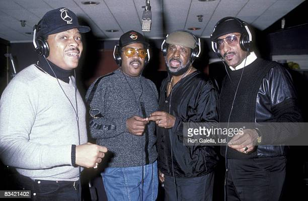 Musicians Lawrence Payton Renaldo Benson Levi Stubbs and Abdul Fakir of the Four Tops at Quadrosonic Sound Studio in New York City