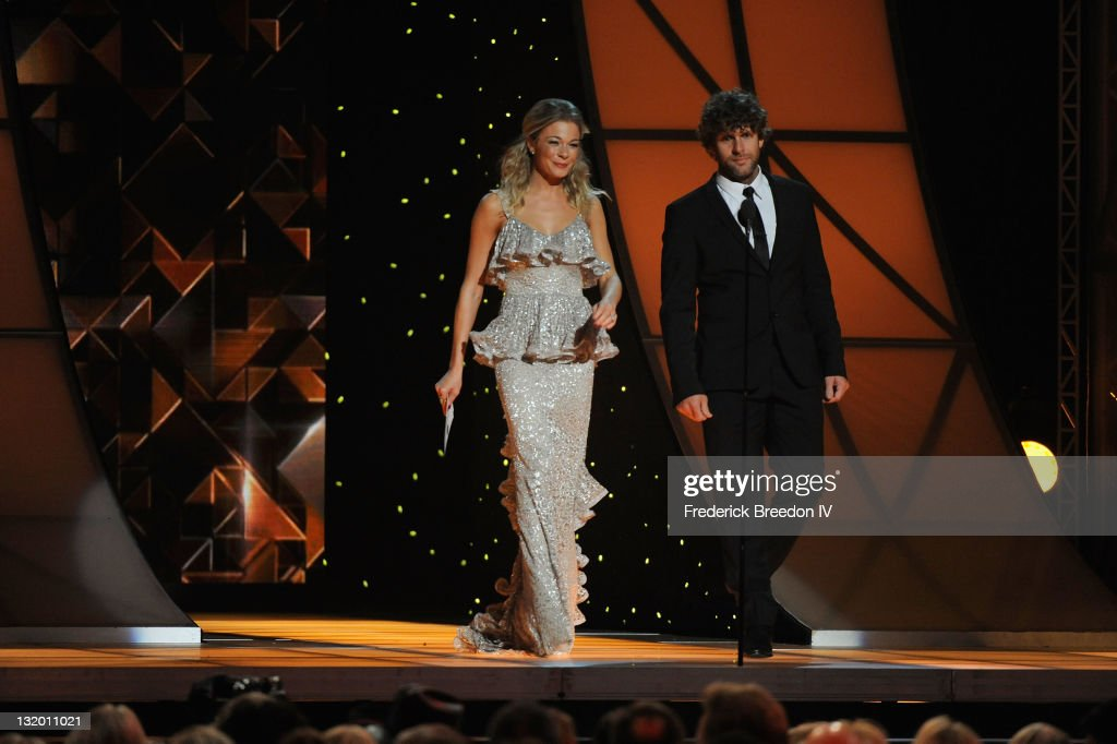 Musicians LeAnn Rimes and Billy Currington during the 45th annual CMA Awards at the Bridgestone Arena on November 9, 2011 in Nashville, Tennessee.