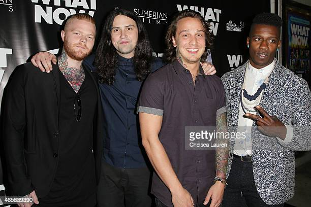 """Musicians Lee McKinney, Ronnie Canizaro and Joe Buras of Born of Osiris and Tosin Abasi of Animals as Leaders arrive at the """"What Now"""" premiere at..."""
