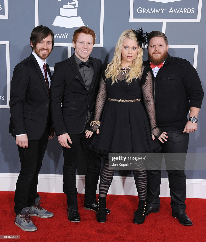 Musicians Leeland Dayton Mooring, Jack Anthony Mooring, Shelly Mooring and Mike Smith of Leeland arrive at 54th Annual GRAMMY Awards held the at Staples Center on February 12, 2012 in Los Angeles, California.