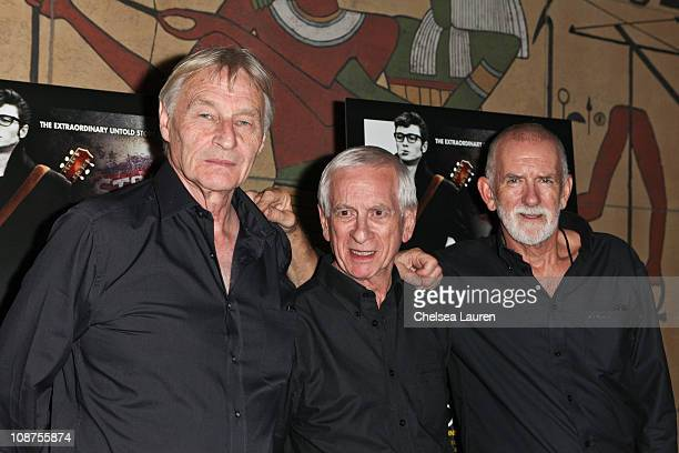 Musicians Len Garry Colin Hanton and Rod Davis of the Quarrymen arrive at the Nowhere Boy special screening at the Egyptian Theater on September 30...