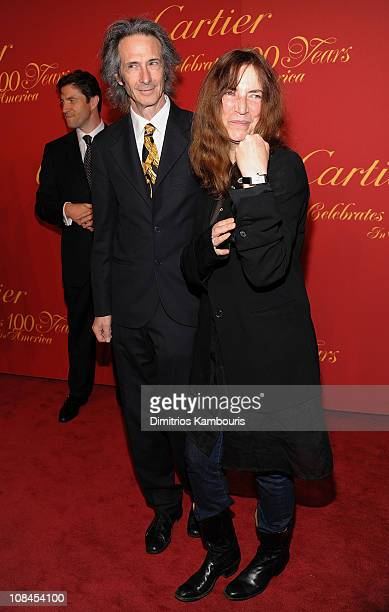 Musicians Lenny Kaye and Patti Smith attend the Cartier 100th Anniversary in America Celebration at Cartier Fifth Avenue Mansion on April 30 2009 in...