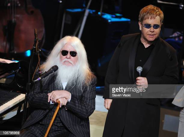 Musicians Leon Russell and Sir Elton John perform on Good Morning America at the Beacon Theatre on October 20 2010 in New York City