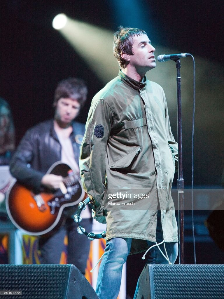 Musicians Liam Gallagher and Noel Gallagher of Oasis perform live at the Melt! Festival in Ferropolis on July 19, 2009 in Graefenhainichen, Germany.