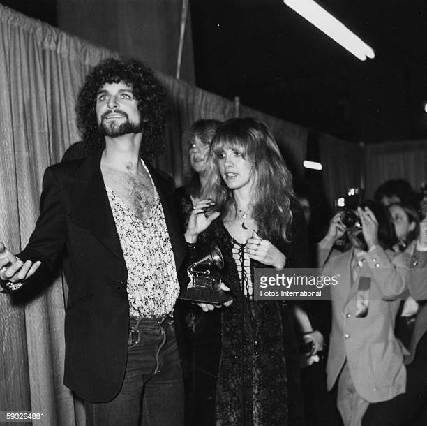 Musicians Lindsey Buckingham and Stevie Nix members of the band 'Fleetwood Mac' with their award at the Grammy Awards February 1978