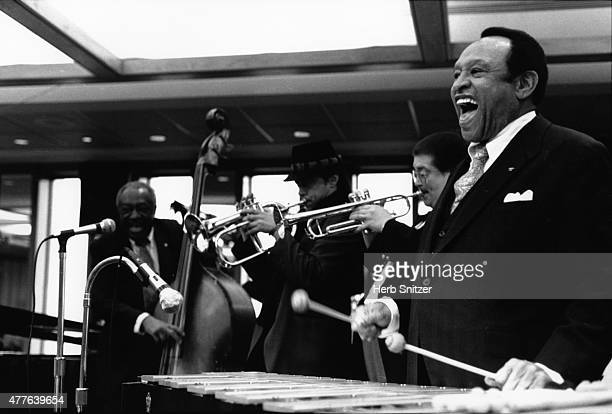 Musicians Lionel Hampton on vibes Chuck Mangione on flugelhorn and Milt Hinton on bass perform at 'Windows To The World' in circa 1985 in New York