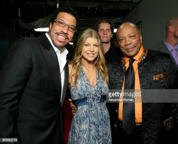 Musicians Lionel Richie, Fergie and Quincy Jones during the 2008 ASCAP Pop Awards at the Kodak Theatre on April 9, 2008 in Hollywood, California.